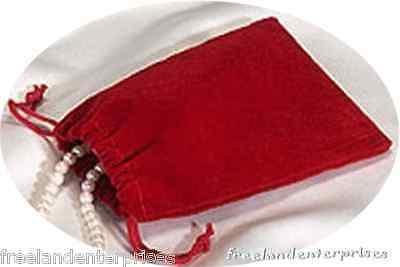 Jewelry Pouch Velour/Velvet type Pouch Lot of 5 Red Color