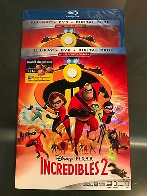 Disney PIXAR Incredibles 2 Blu-ray/DVD 3 Disc Set + Slipcover Sleeve FREE SHIP