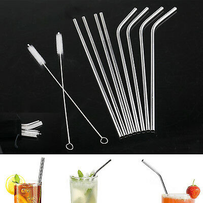"""8pcs Stainless Steel Reusable 10.5"""" Cocktail Drinking Straws with 2 Brushes"""