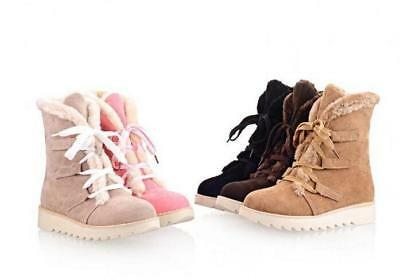 Cute Winter Warm Womens Lace Up Thick Fur Lined Low Heel shoes Snow Ankle Boots