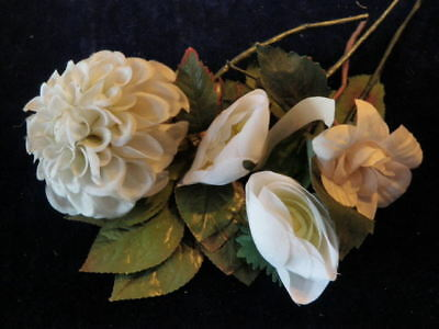 "Vtg Millinery Flower Collection 2-4"" White Ivory Ranunculus Dahlia German H1728"