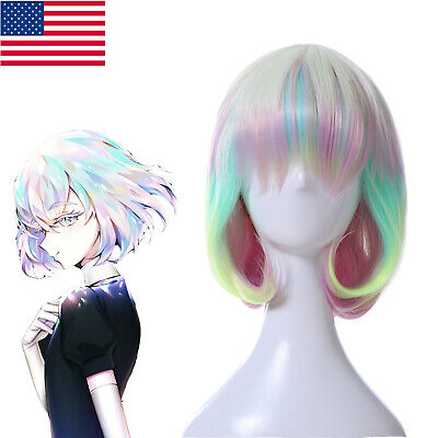 Land of the Lustrous Diamond Gradient Ombre Colorful Cosplay Wigs Short Bob Wig