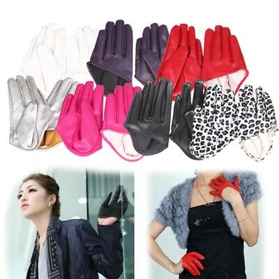1 Pair Women Tight Half Palm Gloves Imitation Leather Five Finger Gloves