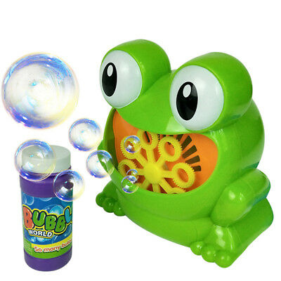 Childrens Kids Bubble Blowing Machine Blower Automatic Frog Shape Gift Birthday