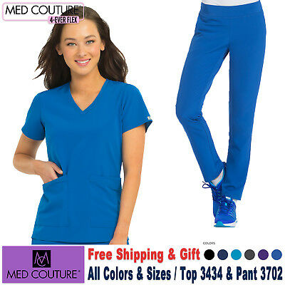 Med Couture Scrubs Satz 4 Ever Flex Uniform V-Ausschnitt Top & Yoga Hose