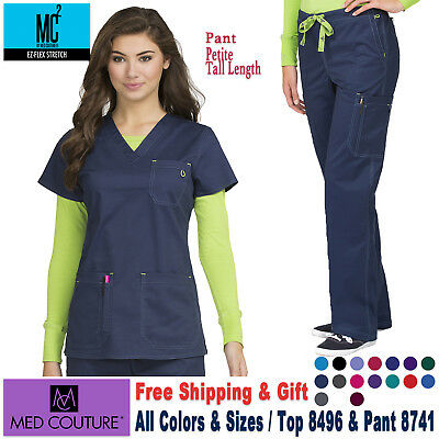Med Couture Scrubs Satz Ez Flex Stretch V-Ausschnitt Top & Layla Hose (