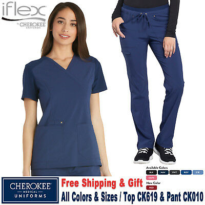 Cherokee Scrubs Satz Iflex Uniform Strick Panel Top & Kordelzug Hose