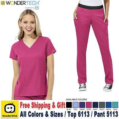 Wonderwink Scrubs Set Wonder Tech Uniform V-Ausschnitt Top & Gerade Hose
