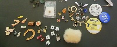 Vintage JUNK DRAWER LOT of 70-Watches-Hat Pins/Badges-Bowling Charm Braclet-Dice