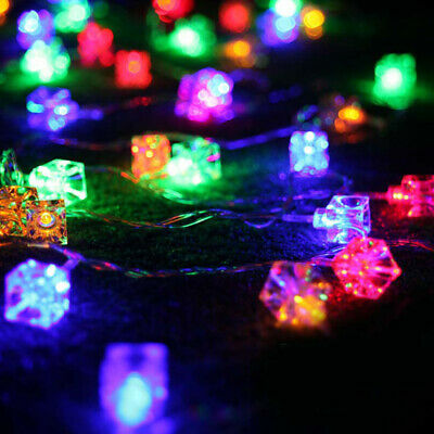 Battery Operated 20 LED Square Ice Cube String Light Christmas Party Decor