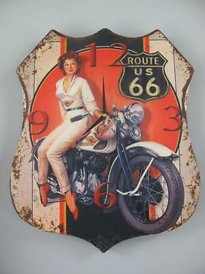 G3711: Route Us 66,Advertisement Watch,Biker Wall Clock with Pin up Girl,Metal