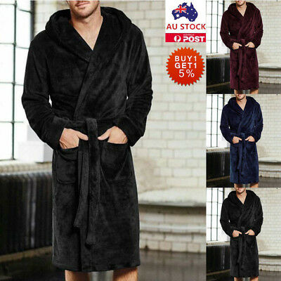 Mens Fleece Terry Towelling Shawl Dressing Gown Winter Soft Egyptian Bathrobe