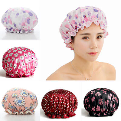 Womens Shower Caps Bows Flower Bath Shower Hair Cover Adults Waterproof Bathing