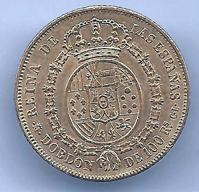 Isabel II 100 Reales DOUBLOON 1850 Madrid C.L. @@ Very Beautiful @@