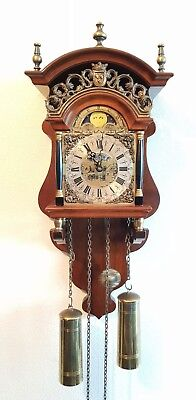 Warmink Clock Dutch Sallander Wall Clock Vintage Wubba Moonphase Bell Strike