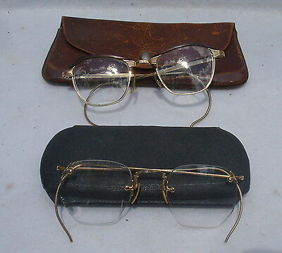 2 Pair Vintage A/O Eyeglasses With Cases 1/10 12K Gold Filled A.O. Fulvue #6
