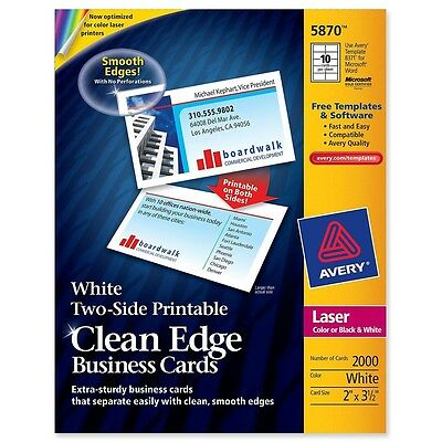 """Avery Clean Edge Business Card - For Laser Print - 3.50"""" X 2"""" - Matte (ave5870)"""