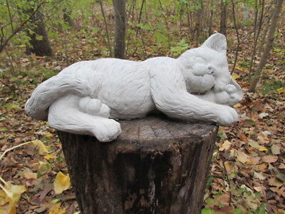 "Large 14 1/2"" Long Cement Sleeping Lying Cat Garden Art Concrete Statue"