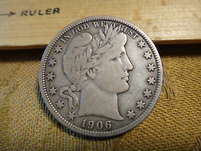 1906 United States Barber Silver Half Dollar 50c - Free S&H USA