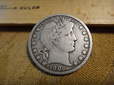 1906-S United States Barber Silver Half Dollar 50c - Free S&H USA