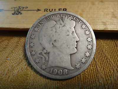 1908-S United States Barber Silver Half Dollar 50c - Free S&H USA