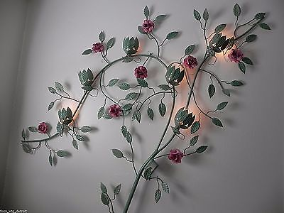 Lrg Tole 6 Light Floral Wall Sconce Lamp Toleware MCM Hollywood Regency Vintage