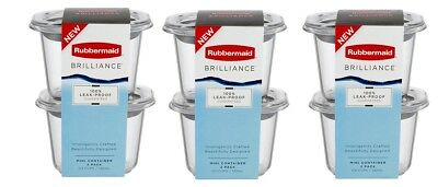 Rubbermaid Brilliance Box of Three 2 Pack 0.5 Cup Storage Containers - NEW