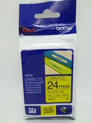 Original Brother TZE-651 Black On Yellow 24mm x 8m P-Touch Label Tape