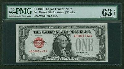 1928 $1 Legal Tender Banknote, Fr-1500 Certified Pmg Choice Uncirculated-63-Epq