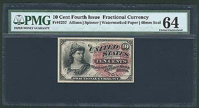 1869-75 10 Cents Fractional Currency Fr1257 Certified Pmg Choice Uncirculated 64