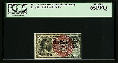 "1869-75 15 Cents Fractional Currency Fr-1269, Certified Pcgs ""gem New-65-Ppq"""