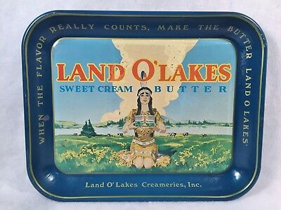 Original Land O' Lakes Advertising Metal Tray
