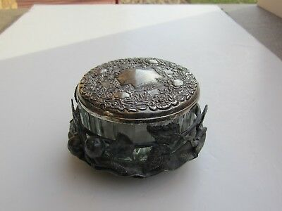 Antique Pairpoint Silver Plate Cherries & Leaves Decorated Ladies Powder Box Set