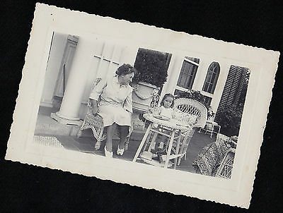 Antique Photograph Woman Sitting at Little Wicker Table & Chairs With Cute Girl