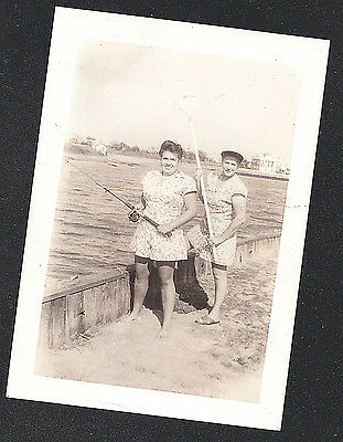 Vintage Antique Photograph Two Women w/ Fishing Rod & Net Standing by Water
