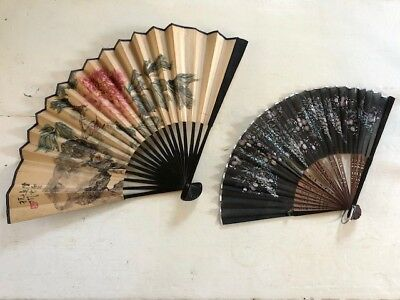 Antique HAND PAINTED ASIAN FANS; paper, silk and wood; delicate designs; floral