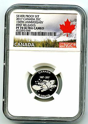 2017 Canada 15Oth Anniv 5 Cent Ngc Pf70 First Release .9999 Silver Proof Nickel
