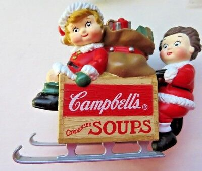 1996 Campbell's Soup Kids On Sled Christmas Ornament