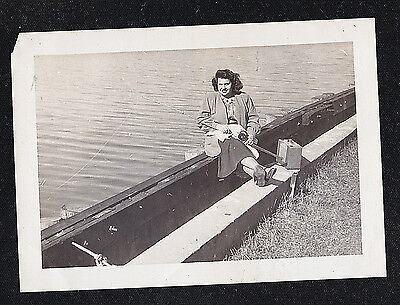 Antique Vintage Photograph Woman Sitting By Water Fishing