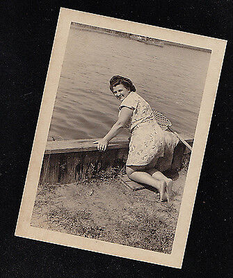 Antique Vintage Photograph Woman w/ Fish Net on Knees Looking Over Wall by Water