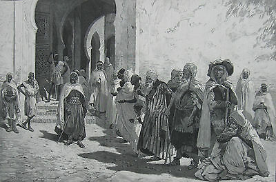 1881 Large Antique Engraving - ALGERIA - Group of Beggars outside the Mosque