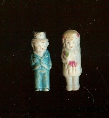 Lot of 2 Small Vintage Bisque Dolls JAPAN, Bride & Groom! 2 inches each