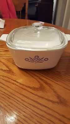 Vtg 1.75 Quart Corning Ware Blue Cornflower Casserole Dish w/Glass Lid P-1 3/4-B