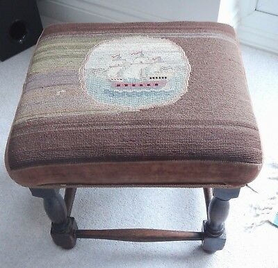 Antique Decorative Sailing Ship~Galleon Aged Tapestry Covered Oak Foot Stool