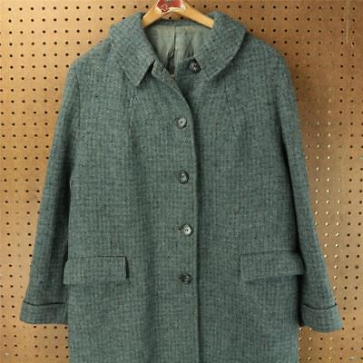vtg 60s 70s HARRIS TWEED over coat wool 46 inch chest blue