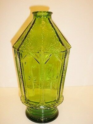 """Vintage Large Wheaton Glass Green 8 Point 10"""" Decanter Bottle with Stars"""