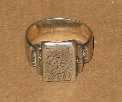 WWII vintage silver Tun'il 1943 trench art ring w/ camel & palm tree