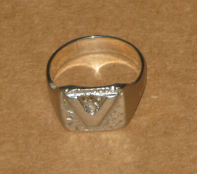 WWII vintage silver tone V for Victory trench art ring