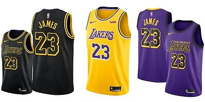 LeBron James #23 Jersey S-2XL Lakers Swingman Basketball City Edition Stitched