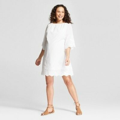 Isabel Maternity Embroidered Flutter Sleeve Swing Dress  White Large #R108